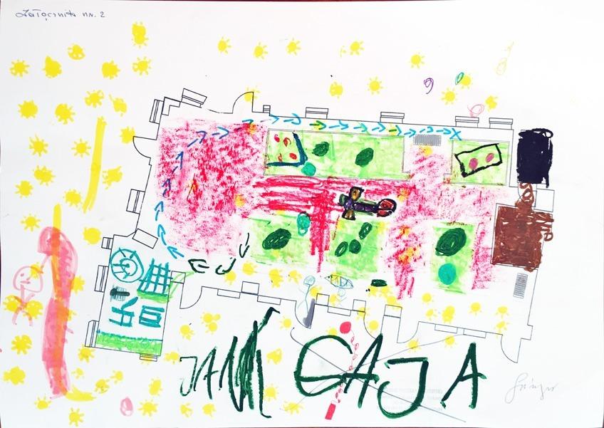 Projekt wymarzonego ogrodu, rysunek wykonany przez dzieci
